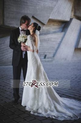 Train Stunning Half-sleeve Lace Open-Back Wedding Dress_4