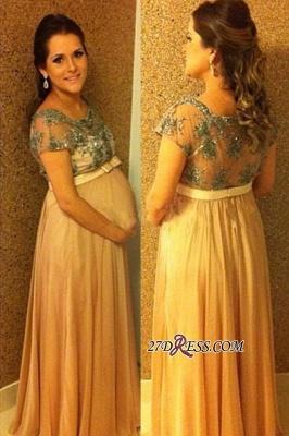 Short-Sleeves Ball-Gown Floor-length Pregnant Bow Chiffon Beading Prom Dress UK_2