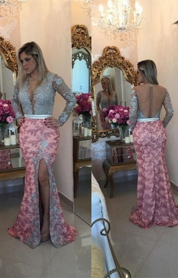 Chic Long Sleeve Lace Appliques Evening Dress UK Mermaid On Sale BMT_1
