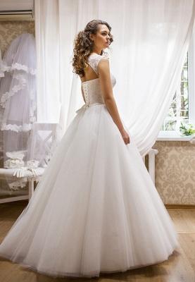 Modern Bateau Sleeveless Tulle Lace Wedding Dress Floor-length Lace-Up_2