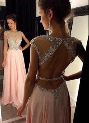 Luxury Scoop Long Chiffon Prom Dress UK Crystals Open Back AP0_2