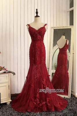 Lace Prom Burgundy Tulle Backless Mermaid Appliques Dress UKes UK Evening Gown_1