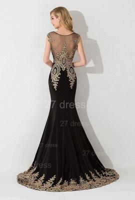 Elegant Lace Appliques Mermaid Evening Dress UK Sweep Train_3