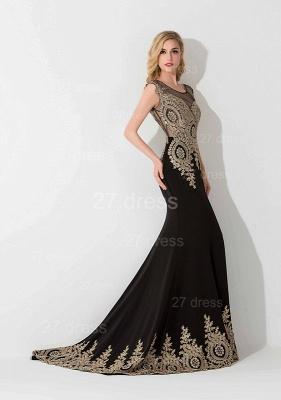 Elegant Lace Appliques Mermaid Evening Dress UK Sweep Train_2