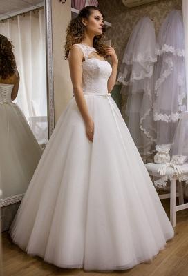 Modern Bateau Sleeveless Tulle Lace Wedding Dress Floor-length Lace-Up_1