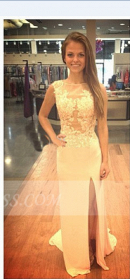 Beadings Sheath Elegant Prom Dress UK Side Slit Sweep Train Satin Applique and_1