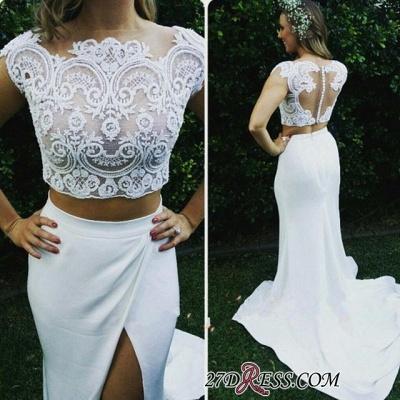 Two-Piece Zipper Lace Sexy Mermaid Sweep-Train Modest White Wedding Dress_3