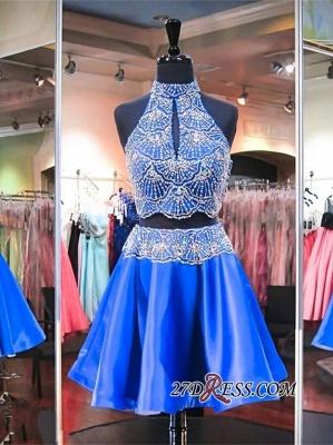 Sleeveless Beads Two-Piece Mini High-Neck Delicate Homecoming Dress UK_3