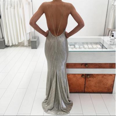 Elegant Sequins Deep V-neck Prom Dress UK Front Split BA3368_3