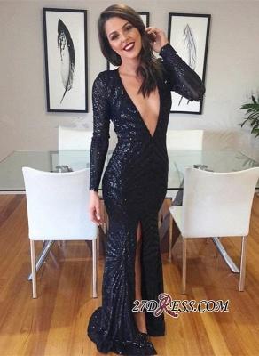 Black V-neck Evening Gowns   Sequined Prom Dress UK With Split_2