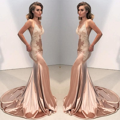V-neck Backless Lace Prom Dress UK | Mermaid Long Evening Gowns BA8287_5