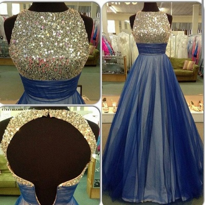 Beautiful Sequins Sleeveless Evening Dress UK A-Line Tulle Prom Gowns_1