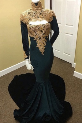 Long Sleeve High Neck Prom Dress UK | Mermaid Evening Dress UK With Appliques_1
