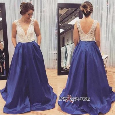 Sleeveless Zipper Long Beadings Luxury V-Neck Prom Dress UK_1