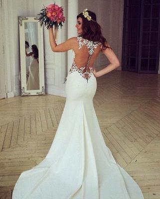 Stunning Sleeveless lace Sexy Mermaid Wedding Dress Zipper Button Back BA3691_2
