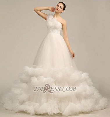 One Shoulder Sweetheart Tulle Wedding Dress Floor Length With Ruffles Princess Bridal Gowns_6