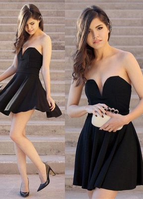 Newest Black Sweetheart Mini Homecoming Dress UK Sleeveless High Quality_1