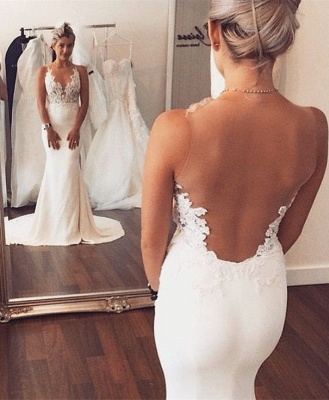 Sheer back  Sexy Mermaid Wedding Dress Sleeveless Lace summer Beach Wedding Gowns BA3612_1