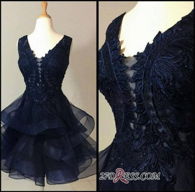 Lace Straps Modest Short Ruffles Sleeveless Homecoming Dress UK_3