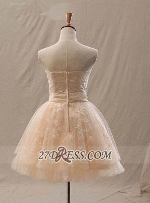 Lovely Semi-sweetheart Sleeveless Cocktail Dress UK Flower Appliques Tulle Short Homecoming Gown_2