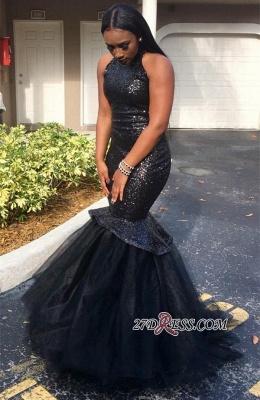 Sequins Mermaid Sleeveless High-Neck Black Elegant Yulle Luxury Prom Dress UK JJ0124 BK0_1
