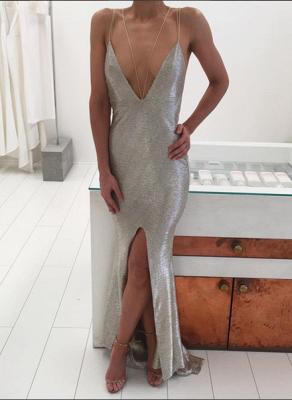 Elegant Sequins Deep V-neck Prom Dress UK Front Split BA3368_1