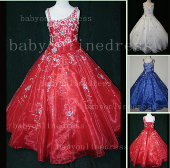 Crystal Discounted Pageant Dresses for Girls on Sale Formal Gowns Flower Newborn Beaded Girls_1