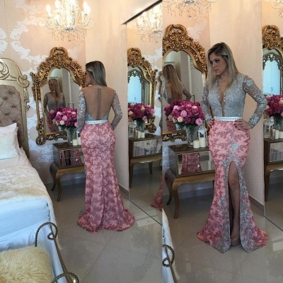 Chic Long Sleeve Lace Appliques Evening Dress UK Mermaid On Sale BMT_3