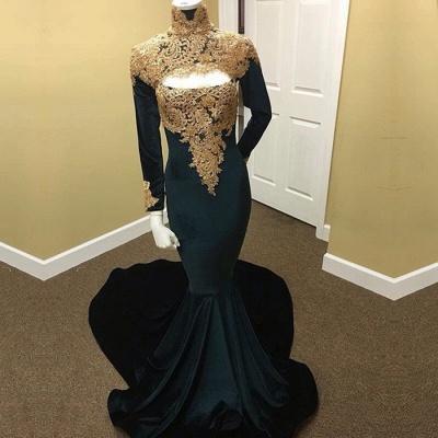 Long Sleeve High Neck Prom Dress UK | Mermaid Evening Dress UK With Appliques_3