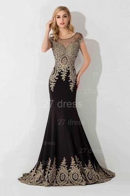 Elegant Lace Appliques Mermaid Evening Dress UK Sweep Train_1