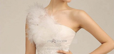 One Shoulder Sweetheart Tulle Wedding Dress Floor Length With Ruffles Princess Bridal Gowns_7