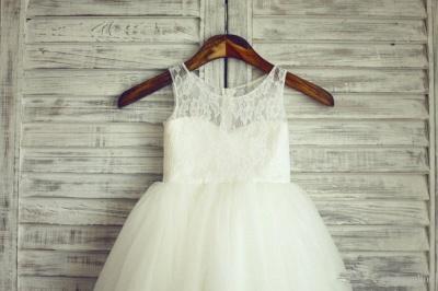 Lovely Lace Tulle Short Flower Girl Dress Illusion Sleeveless_2
