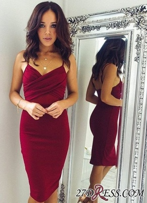 Knee-Length Burgundy Sheath Spaghettis-Straps Elegant Tight Homecoming Dress UKes UK_2