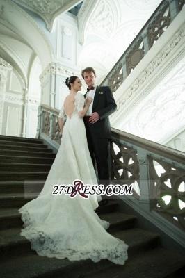 Train Stunning Half-sleeve Lace Open-Back Wedding Dress_5