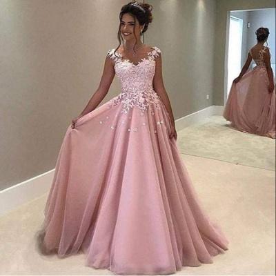 Luxury Pink Lace Appliques A-Line Long Evening Dress UK BA4607_3