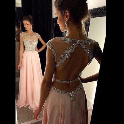 Luxury Scoop Long Chiffon Prom Dress UK Crystals Open Back AP0_3