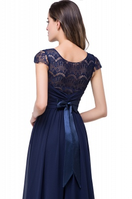 Sexy Chiffon Lace A-line Prom Dress UK Bowknot Cap Sleeve_4