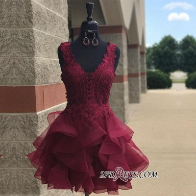 Lace Straps Modest Short Ruffles Sleeveless Homecoming Dress UK_1