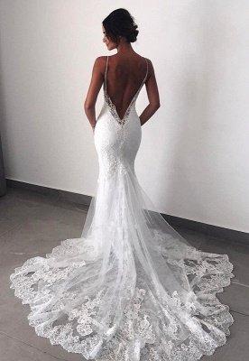 Fashion Backless Lace Wedding Dress   Sexy Mermaid Bridal Gowns_1