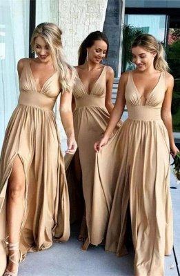 Sexy V-Neck Sleeveless Bridesmaid Dress UK | 2019 Bridesmaid Dress UK With Slit_1