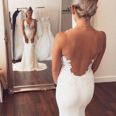 Sheer back  Sexy Mermaid Wedding Dress Sleeveless Lace summer Beach Wedding Gowns BA3612_3