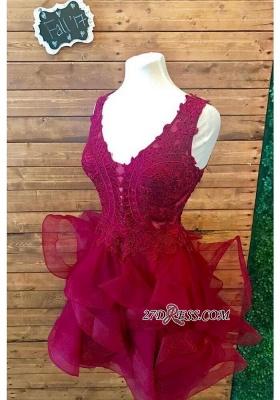 Lace Straps Modest Short Ruffles Sleeveless Homecoming Dress UK_4