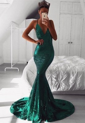 Sexy Sequins Evening Dress UK   Mermaid V-Neck Prom Dress UK_1
