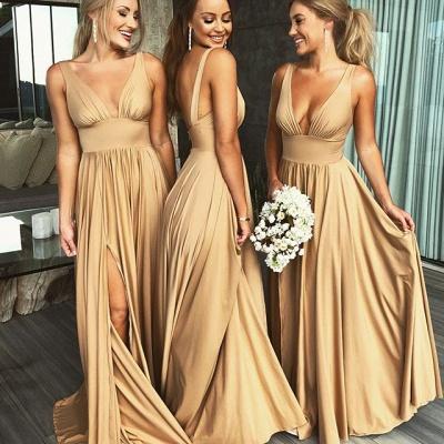 Sexy V-Neck Sleeveless Bridesmaid Dress UK | 2019 Bridesmaid Dress UK With Slit_3
