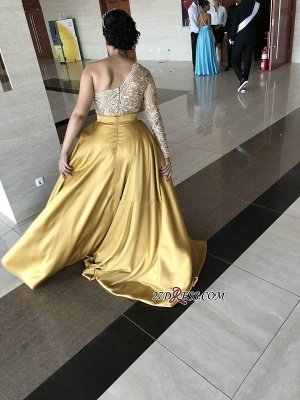 Yellow one shoulder prom Dress UK, long sleeve evening Dress UK_4