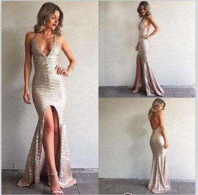 Front-Split V-Neck Sequined Elegant Backless Mermaid Prom Dress UK BA6840_2