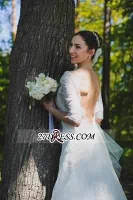 Train Stunning Half-sleeve Lace Open-Back Wedding Dress_3