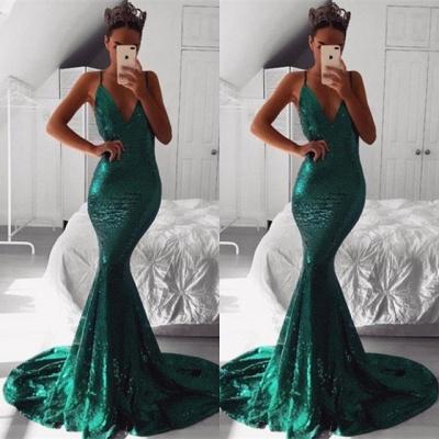 Sexy Sequins Evening Dress UK   Mermaid V-Neck Prom Dress UK_3