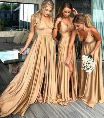 Sexy V-Neck Sleeveless Bridesmaid Dress UK | 2019 Bridesmaid Dress UK With Slit_4