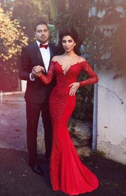 Elegant Red Long Sleeve Lace Evening Dress UK Mermaid Zipper Button Back_1